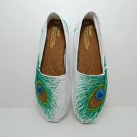 Peacock Feather Custom TOMS shoes by KellismCo on Etsy