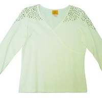 Ruby Rd Wldn&#x27;t Knit Be Nice 3/4 Sleeve Studded V Neck Top