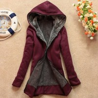 PLUS VELVET LONG-SLEEVED HOODED SWEATER COAT LOOSE dark red
