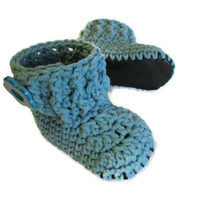 Soft Leather-Sole Baby Shoes - Turquoise Booties