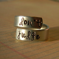 don't judge Matthew 7 hand stamped aluminum spiral ring