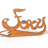 Foxy Word Art Cutout Ornament Laser Cut Wood Black Cherry