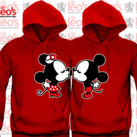 "Mickey Minnie Kissing ""Cute couples matching Hoodies"""