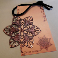 Official 2013 COPPER AMAZON Ornament - Antiqued Copper Metal Filigree Snowflake - Winter - Solstice - Hanukkah - Christmas - Kwanzaa -Yule
