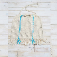 Vintage 60s Fringe Macrame Shoulder Boho Bag Purse