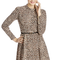 Leopard Funnel Skater Dress