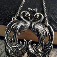 Art Nouveau Peacock Necklace Silver Bird Feathers by Saout
