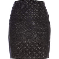 BLACK EMBOSSED LEATHER-LOOK SKIRT