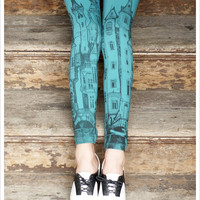 Victorian City Leggings Printed Aqua Blue Leggings by Carouselink