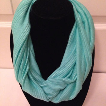 Infinity Scarf- Turquoise Stripe