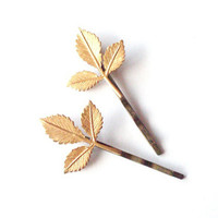 Daphne III - Gold Leaf Bobby Pins Leaf Hair Pins Leaf Hair Accessories Woodland Wedding Bridal Hair Accessories Grecian Hair Accessories