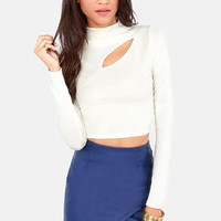 Slit's About Time Ivory Crop Top