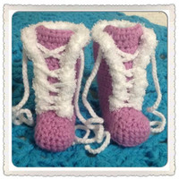 Lace Up Baby Booties, Newborn Snow Boots, Crochet Shoes, Featuring Lace Closure, Fur Trim Orchid Purple MORE COLORS Sizes Fashion Clothes