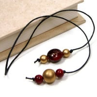 Book Thong Beaded Bookmark, Book Cord, Book String, Gift under 5, Burgundy, Gold, TJBdesigns, Teacher Gift