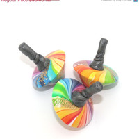 HOLIDAYS SALE Unique spinning tops, colorful dreidels, set of 3 small polymer clay rainbow dreidels, great Hanukkah gift idea, toy for all