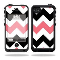 Protective Vinyl Skin Decal Cover for LifeProof iPhone 4 / 4S Case Sticker Skins Black Pink Chevron