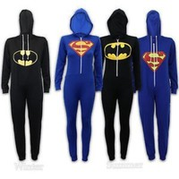 Warm Ladies Superman vs Batman Superhero Jumpsuit Onesuit