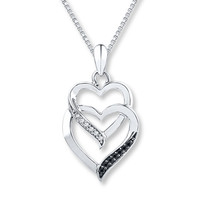 Black & White Diamonds 1/15 ct tw Necklace Sterling Silver