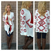 Red & White Knit Aztec Sweater Cardigan