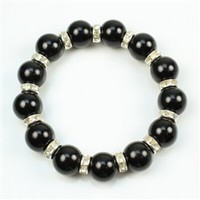 Black stretch bracelet with rhinestones