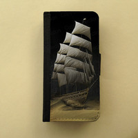 Sailing Ship - Gift for men - iPhone 4/5 case Samsung Galaxy S3 S4, iPhone wallet, book style, iPhone flip case
