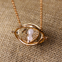 vintage style the Harry Potter time turner necklace the Golden Snitch jewelry popular Antique Gift