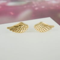 tiny angel wings post earrings