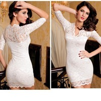 White Body Lace Mini dress