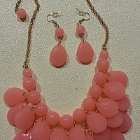 Peach Bubble Necklace & Earrings