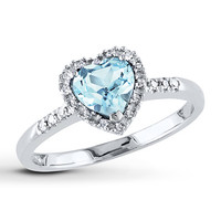 Aquamarine Heart Ring 1/10 ct tw Diamonds Sterling Silver