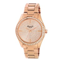 Rose Gold Watch with Pave Crystal Dial and Bezel - Metal - Kenneth Cole