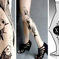 new XXL sexy Aquarium tattoo tights / stockings / by tattoosocks