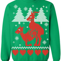 Ugly Christmas Sweater - Humping Reindeer Crew Neck Sweatshirt - X-mas Tee - Funny Christmas Sweater Shirt