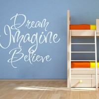 Dream, Imagine And Believe Sticker - Moon Wall Stickers