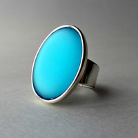 Mint Statement Ring, Mint Green, Oval Ring, Big Ring, Cocktail Ring, Spearmint, Iridescent, Adjustable
