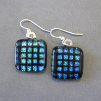 Evening Earrings, Dichroic Fused Glass Earrings, Dangle Earring Jewelry, Fashion Earrings - Birmingham -1582 -2