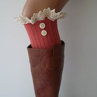 Pink lace boot cuffs with lace and buttons boho boot socks lace cuffs women's accessory leg warmers back to school