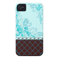 Cute Aqua Blue and Dark Chocolate Case-Mate iPhone 4 Case