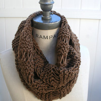 Brown Knit Scarf Hand Knit Infinity Scarf Gifts for Best Friends Knit Neckwarmer - By PiYOYO