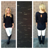 Black Speckled Key Hole Back Top