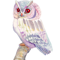 Pink and Purple Owl art print - 11 x 14 inch archival fine art print watercolor