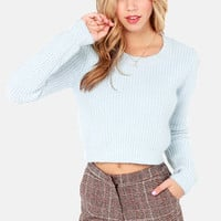 Personal Cropper Cropped Light Blue Sweater