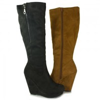Black, Hazel Delicious Canoe-S Knee-High Faux-Suede Wedge Boot | Shoetopia.com