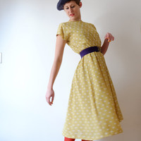 Floating citrus dot vintage dress, new, XS - S, Japan