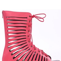 CORAL CUT OUT MID ANKLE LACE UP OPEN TOE GLADIATOR SANDALS