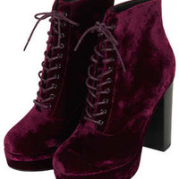 ALPY VELVET LACE UP BOOTS