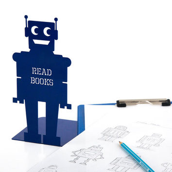 Bookend for kids room Robot (blue) powder coated laser cut metal thick enough to hold books