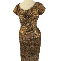 50s 60s Dresees-Kay Selig Gold Metallic Floral Draped Cocktail Dress