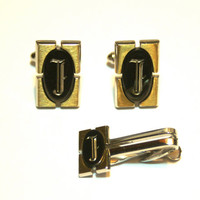 Letter J Cufflinks and Tie Clip Vintage Hickok Silver Tone Gold and Black Rectangle with Old English Font Monogram Mid Century Mod