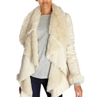 Faux Shearling Drape Jacket